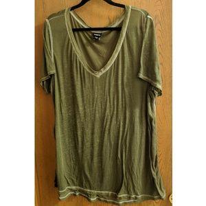 Olive Semi-Sheer V-Neck T-Shirt - NWOT